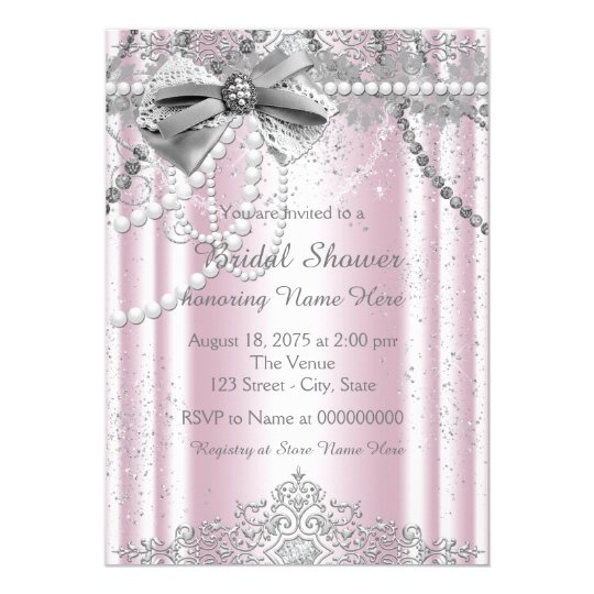 Pink and Grey Pearl Bridal Shower Card