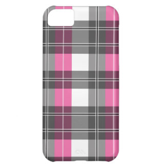 Pink and Grey Plaid Design Cover For iPhone 5C