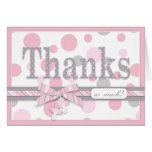 Pink and Grey Polka Dots Thank You Baby Shower