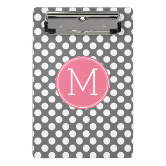 Pink and Grey Polka Dots with Preppy Monogram