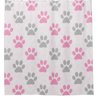 Pink and grey puppy paw prints