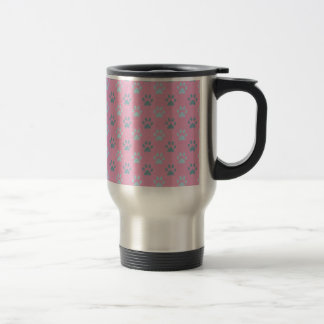 Pink and grey puppy paw prints travel mug