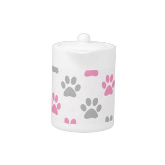 Pink and grey puppy paws pattern
