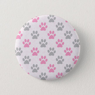 Pink and grey puppy paws pattern 2 inch round button