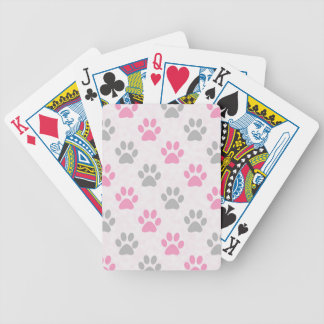 Pink and grey puppy paws pattern bicycle playing cards