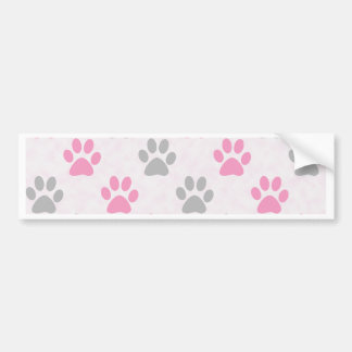 Pink and grey puppy paws pattern bumper sticker