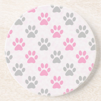 Pink and grey puppy paws pattern coaster