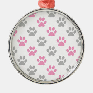 Pink and grey puppy paws pattern metal ornament