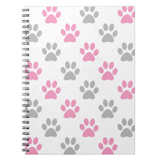 Pink and grey puppy paws pattern notebooks