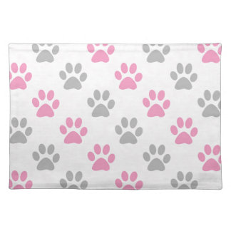 Pink and grey puppy paws pattern placemat