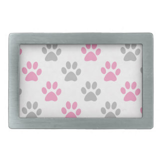 Pink and grey puppy paws pattern rectangular belt buckles