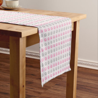 Pink and grey puppy paws pattern short table runner