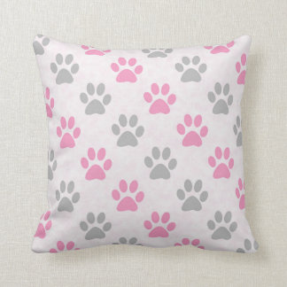 Pink and grey puppy paws pattern throw pillow