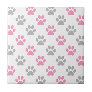 Pink and grey puppy paws pattern tile