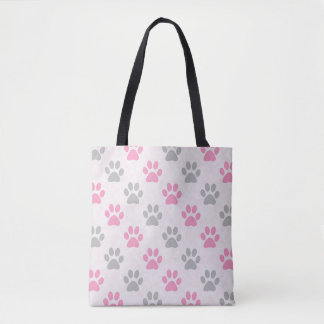 Pink and grey puppy paws pattern tote bag