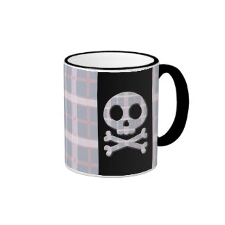 Pink and Grey Skull Coffee Mugs