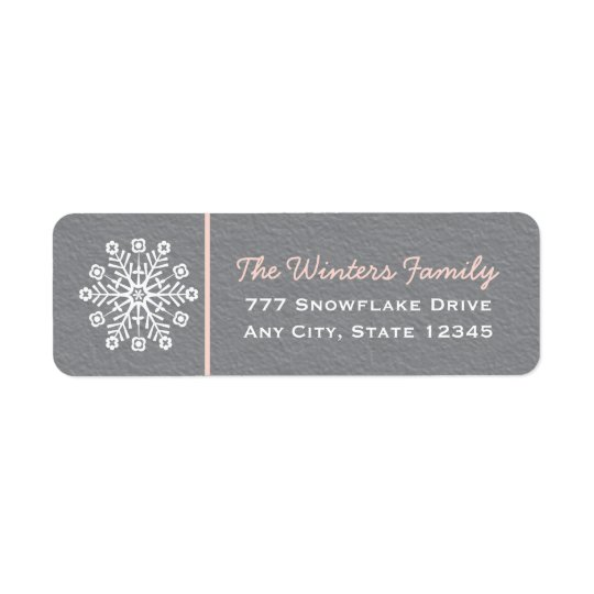 Pink and Grey Snowflake Return Address Labels
