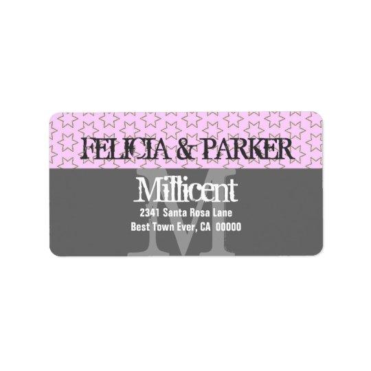 Pink and Grey Stars Wedding Monogram E257
