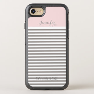pink and grey stripes monogram OtterBox symmetry iPhone 7 case