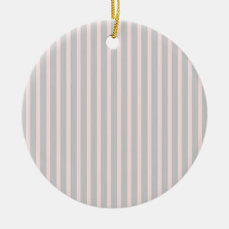 Pink and Grey Stripes Double-Sided Ceramic Round Christmas Ornament