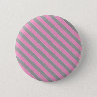 Pink and grey stripes pattern 2 inch round button