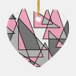 pink and grey triangles.jpg ceramic heart ornament