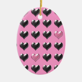 Pink and grey valentine hearts pattern ceramic oval ornament