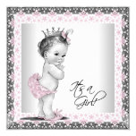 "Pink and Grey Vintage Baby Girl Shower 5.25"" Square Invitation Card"