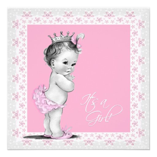 pink and grey vintage baby girl shower custom invitations