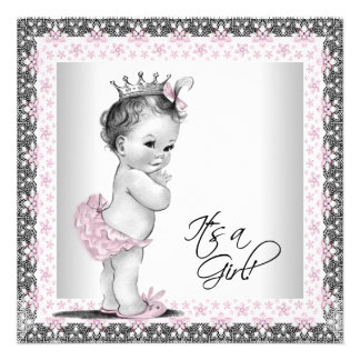 Pink and Grey Vintage Baby Girl Shower Personalized Invitation
