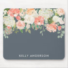 Pink and Grey Watercolor Floral with Your Name Mouse Pad