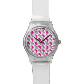 Pink and grey yin yang pattern watch