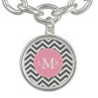 Pink and Grey Zigzags Monogram Bracelet