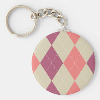 Pink and Ivory Argyle Keychain