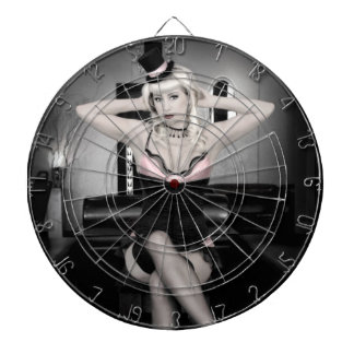 Pink and Lace Top Hat Dancer Pin Up Girl Dartboard