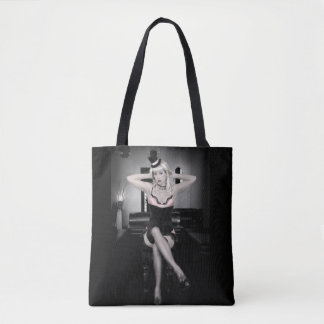 Pink and Lace Top Hat Dancer Pin Up Girl Tote Bag