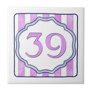 Pink and Lavender Big House Number Tile