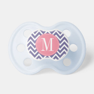 Pink and Lavender Chevron Custom Monogram Pacifier