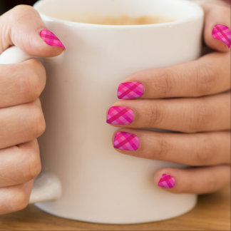 Pink and lavender plaid minx nail art