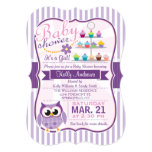 Pink and Lavender Purple Owl, Girl Baby Shower