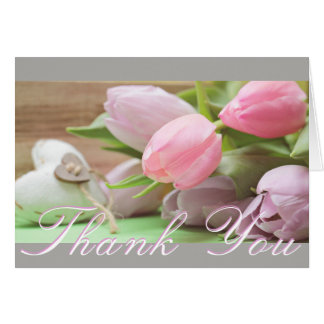 Pink and Lavender Tulips Gray Thank You Note Card