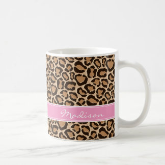 Pink and Leopard Print Custom Monogram Coffee Mug