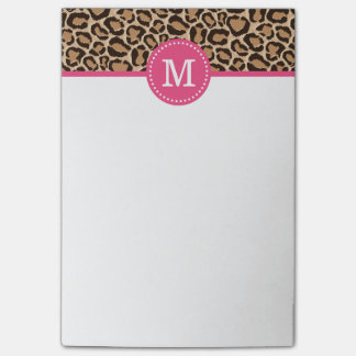 Pink and Leopard Print Custom Monogram Post-it® Notes