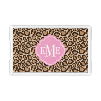 Pink and Leopard Print Custom Monogram Serving Tray