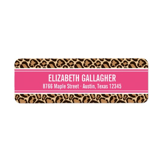 Pink and Leopard Print Return Address Label
