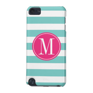 Pink and Light Blue Stripes Custom Monogram iPod Touch (5th Generation) Covers