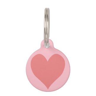 Pink and Light Coral Heart Pet ID Tag