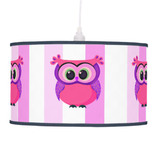 Pink and lilac owl illustration pendant lamp