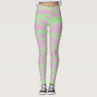 Pink and Lime Green Squiggly Abstract Leggings