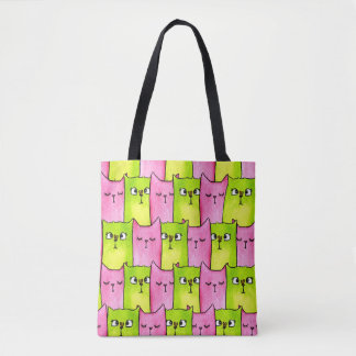 Pink and Lime Kitty Tote Bag